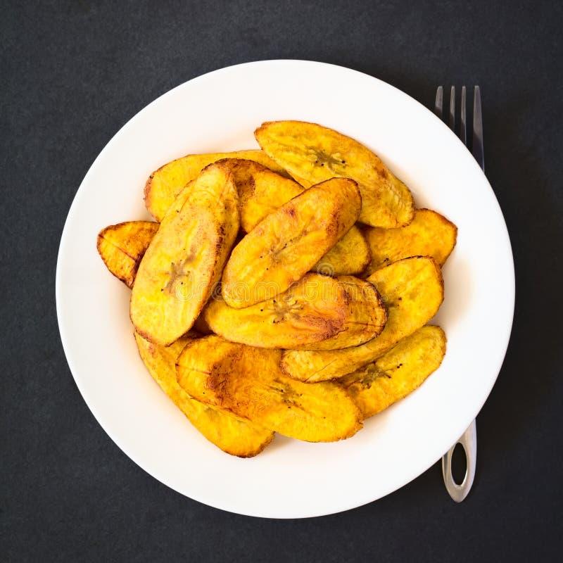 油煎的成熟大蕉切片 免版税图库摄影