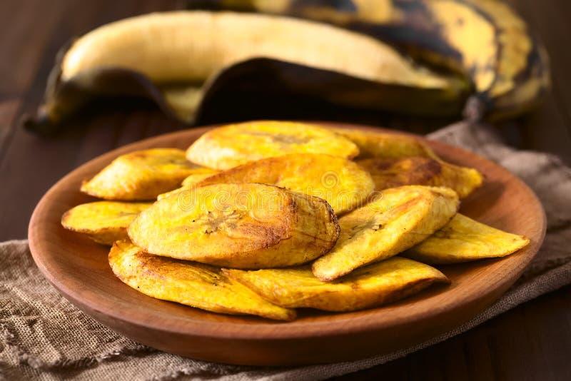 油煎的成熟大蕉切片 免版税库存图片