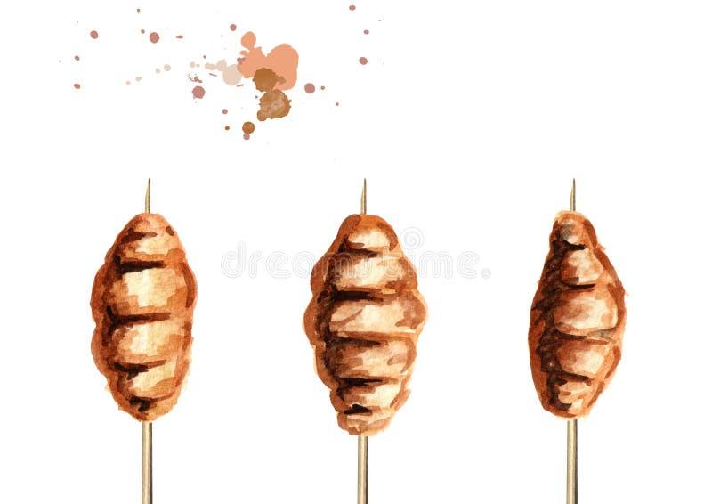 油煎的昆虫木蠕虫集合 亚洲街道食物,隔绝在白色背景 水彩手拉的例证 向量例证