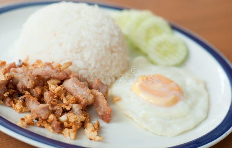 油煎的猪肉用在米和煎蛋的大蒜 免版税图库摄影