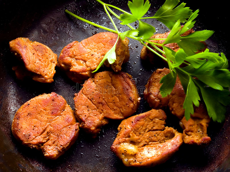 油煎的猪肉 免版税库存图片