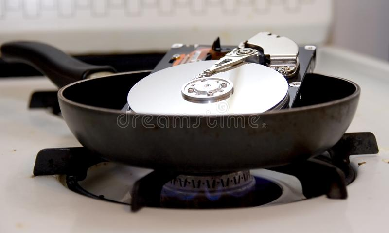 油煎的硬盘驱动器 免版税库存照片