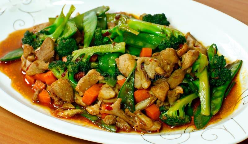 油煎的肉蔬菜 图库摄影
