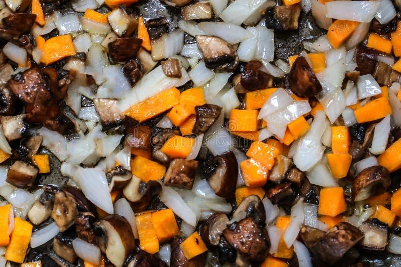 油煎的葱、红萝卜和蘑菇的混合 免版税库存图片
