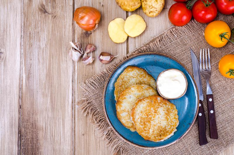 油煎的薄煎饼土豆 免版税图库摄影