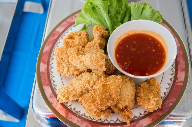 油煎的虾蛋糕,泰国街道食物`托德人kung ` 广告和菜单名单的图象 免版税库存照片