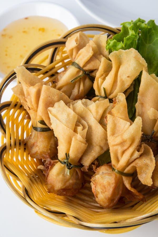 油煎的虾馄饨 免版税库存照片