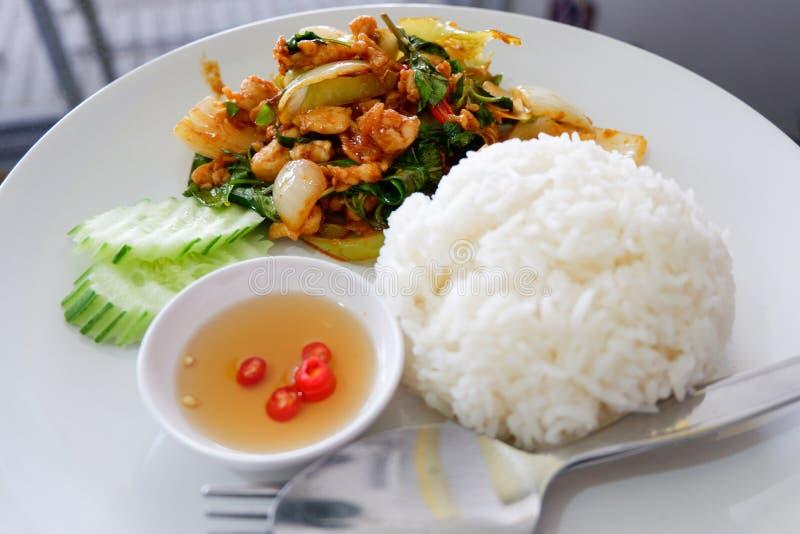 油煎的辣椒鸡用成熟的米 库存照片