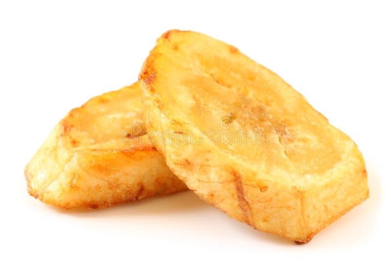油煎的香蕉切片 免版税库存图片