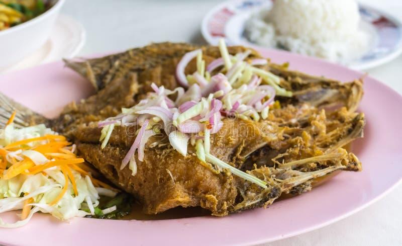 油煎的鱼晚餐非常鲜美 免版税库存图片