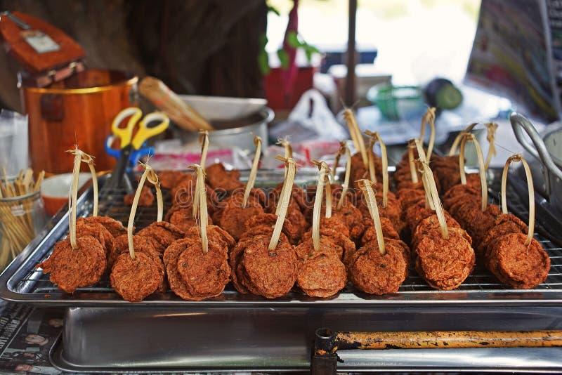 油煎的鱼糕,辣泰国食物 库存图片