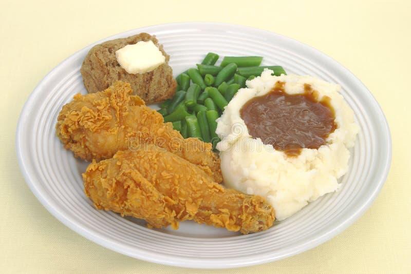 油煎的鸡正餐 免版税图库摄影