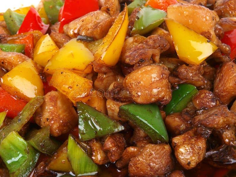 油煎的鸡汉语 库存照片