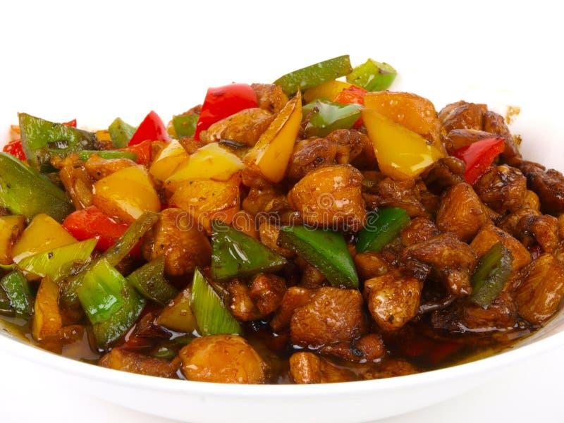 油煎的鸡汉语 图库摄影