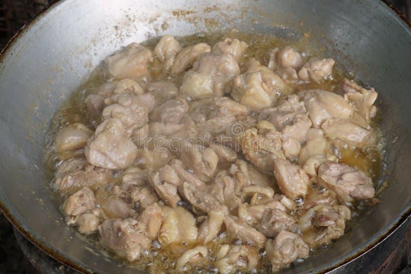 油煎的鸡烹调 库存照片