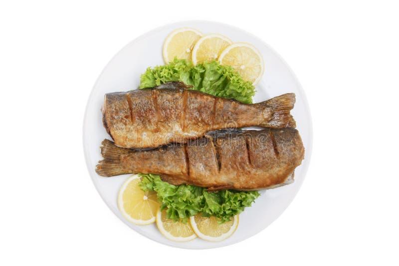 油煎的整个鳟鱼传统英王乔治一世至三世时期盘白色背景顶视图 图库摄影
