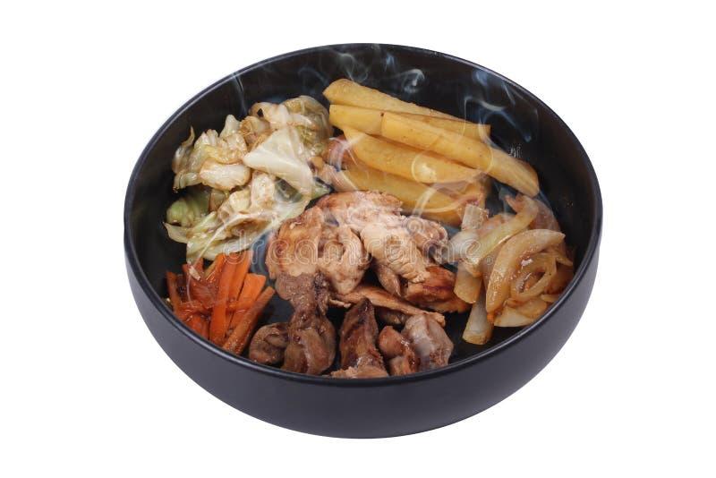 油煎的teriyaki鸡用黄油土豆和草本 免版税库存图片