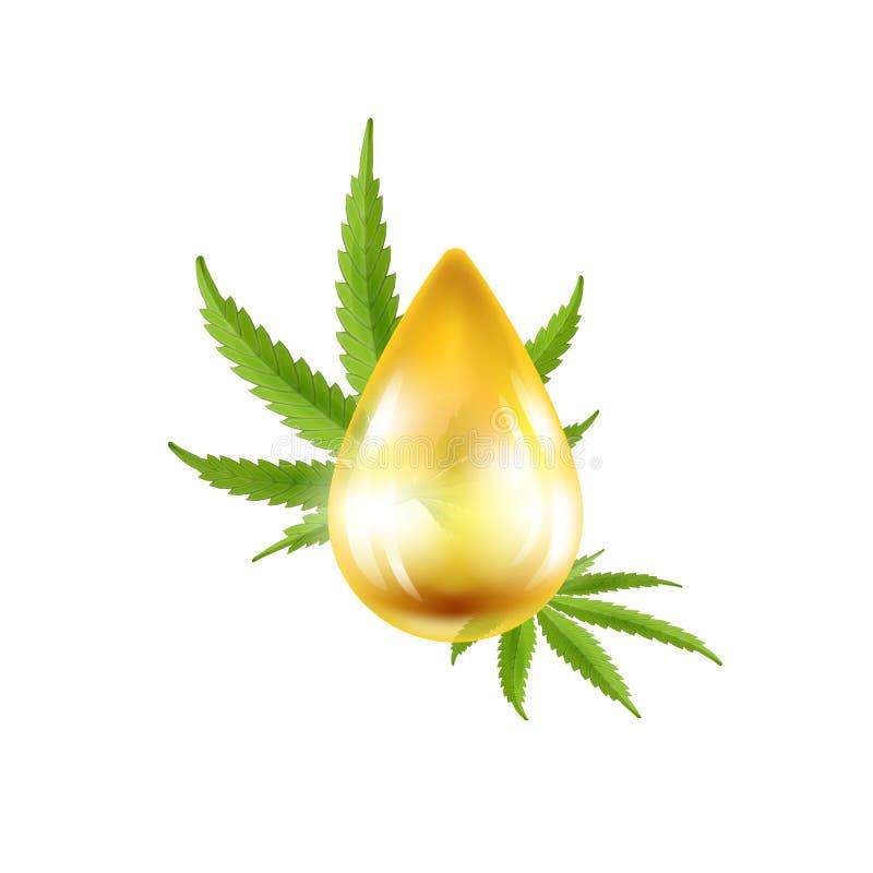 油现实下落与大麻叶子的 也corel凹道例证向量 皇族释放例证