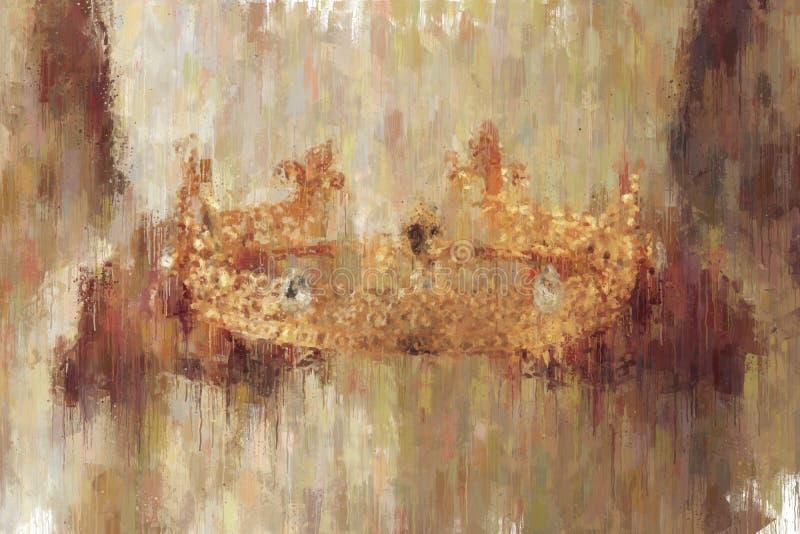 油画样式夫人的摘要图象有拿着金冠的白色礼服的 幻想中世纪期间 免版税库存照片