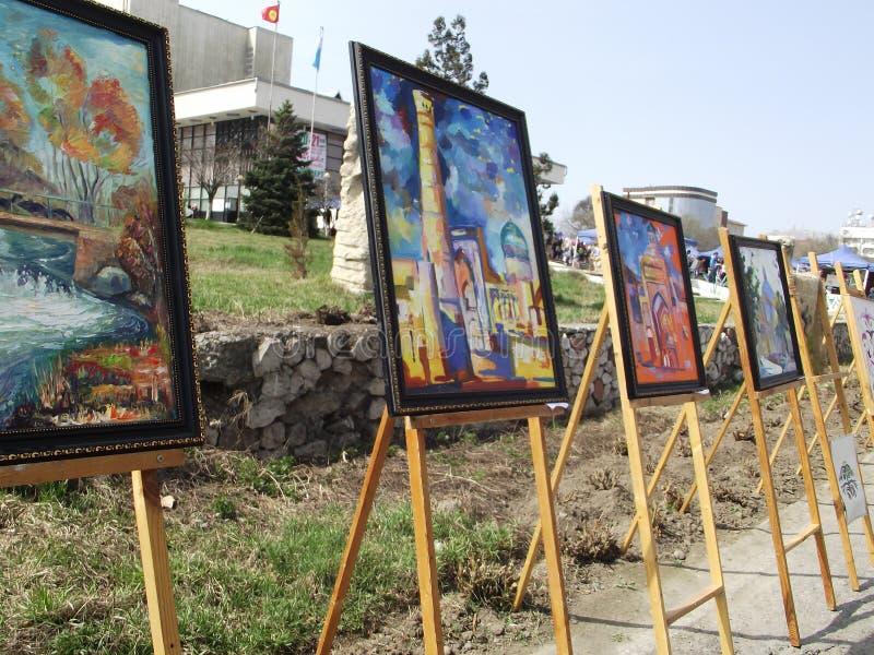 油画 古老亚洲城市的图象 陈列 库存图片