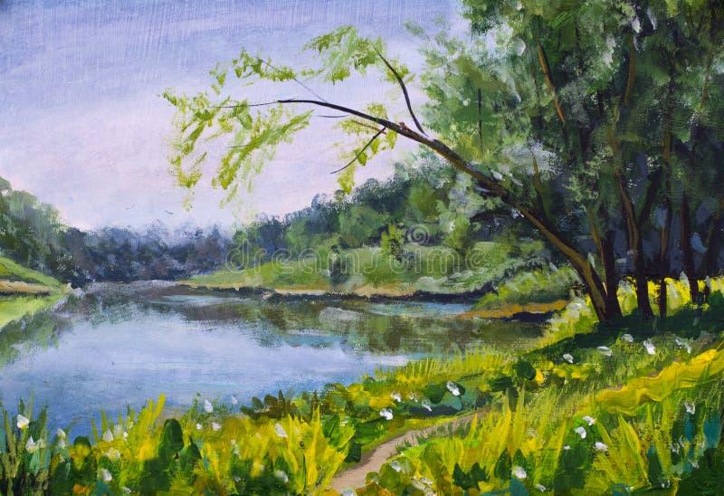 油画-夏天风景,蓝色河,晴朗的海滩 库存例证