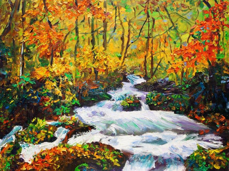 油画-槭树在秋天 向量例证