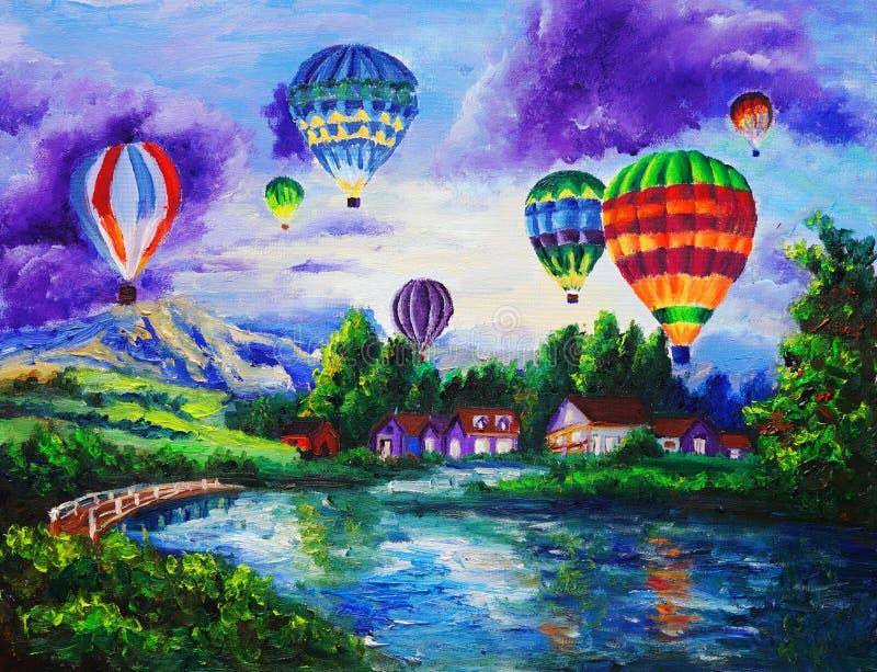 油画-热气球 皇族释放例证