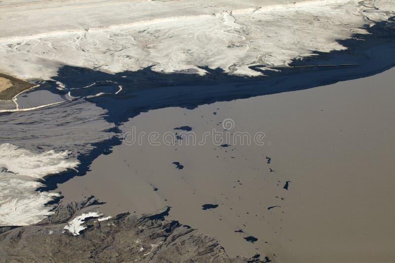 油砂鸟瞰图,亚伯大,加拿大 免版税库存照片