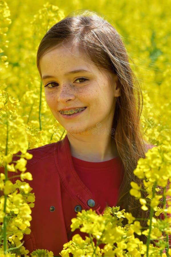 油菜领域的女孩 库存照片