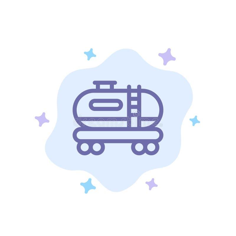 油,坦克,在抽象云彩背景的污染蓝色象 向量例证