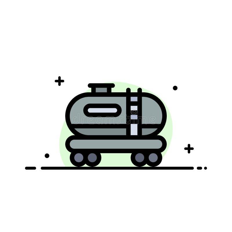 油,坦克,污染企业平的线填装了象传染媒介横幅模板 库存例证