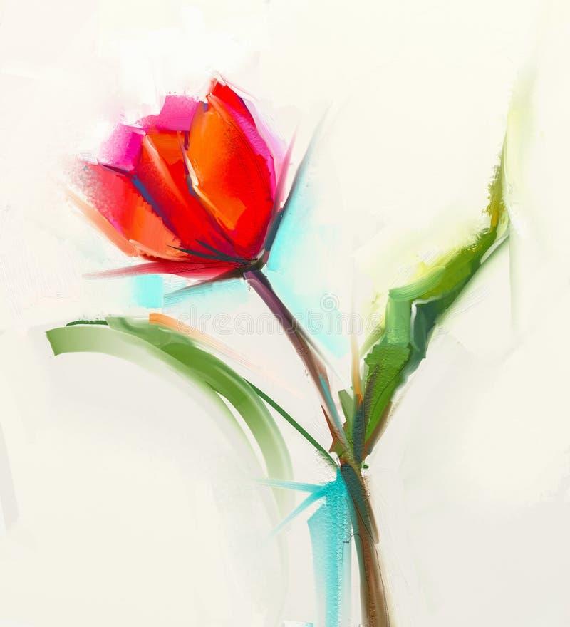 油画与绿色叶子的一朵唯一红色郁金香花 库存例证