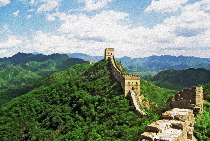油画传统化了中国长城的照片 免版税图库摄影