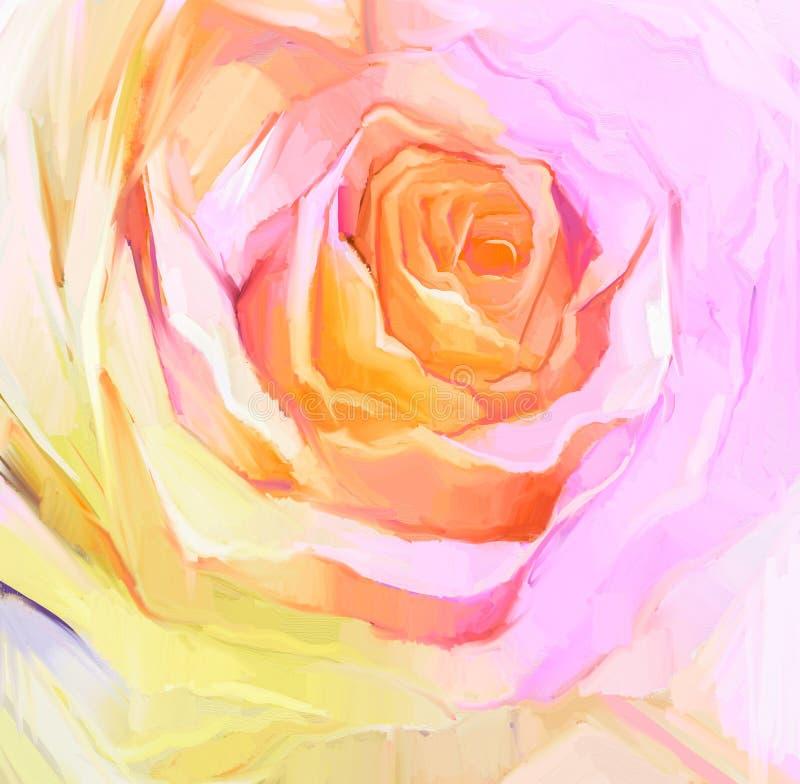 油画关闭白色玫瑰 花卉手画瓣 向量例证