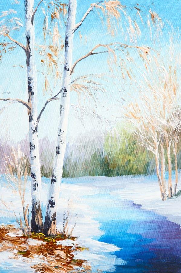 油画冬天风景,结冰的河在森林里 皇族释放例证