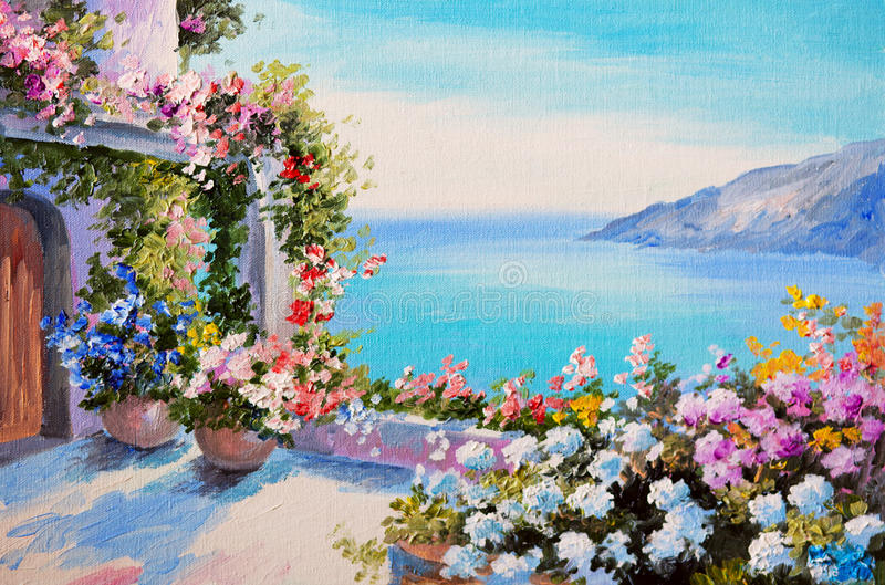 油画-在海附近的房子 向量例证