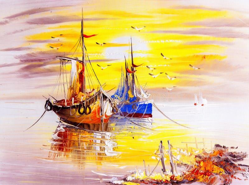 油画-小船 库存例证
