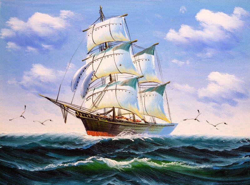 油画-小船 向量例证
