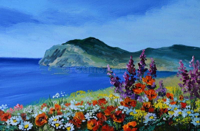 油画-山在海,沿海,抽象图画 皇族释放例证