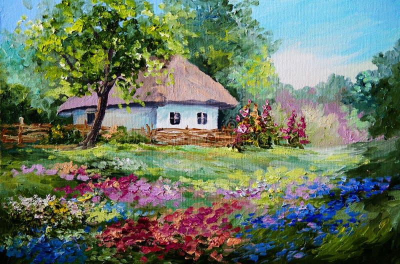 油画-房子在村庄 皇族释放例证