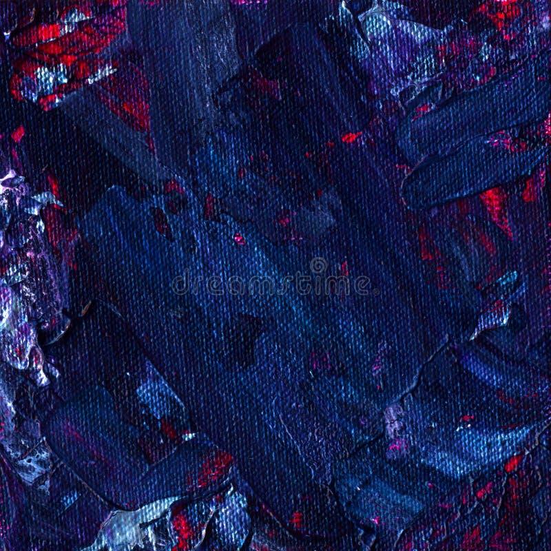 油画摘要纹理 空间蓝色,紫罗兰色和紫色颜色的混合 艺术性的方形的背景 免版税库存图片