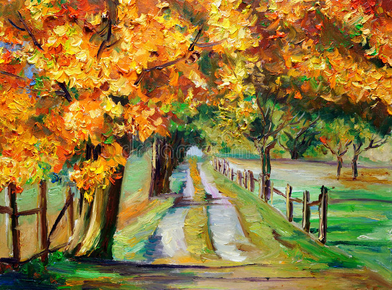 OilOil绘画-有槭树的乡下公路 向量例证