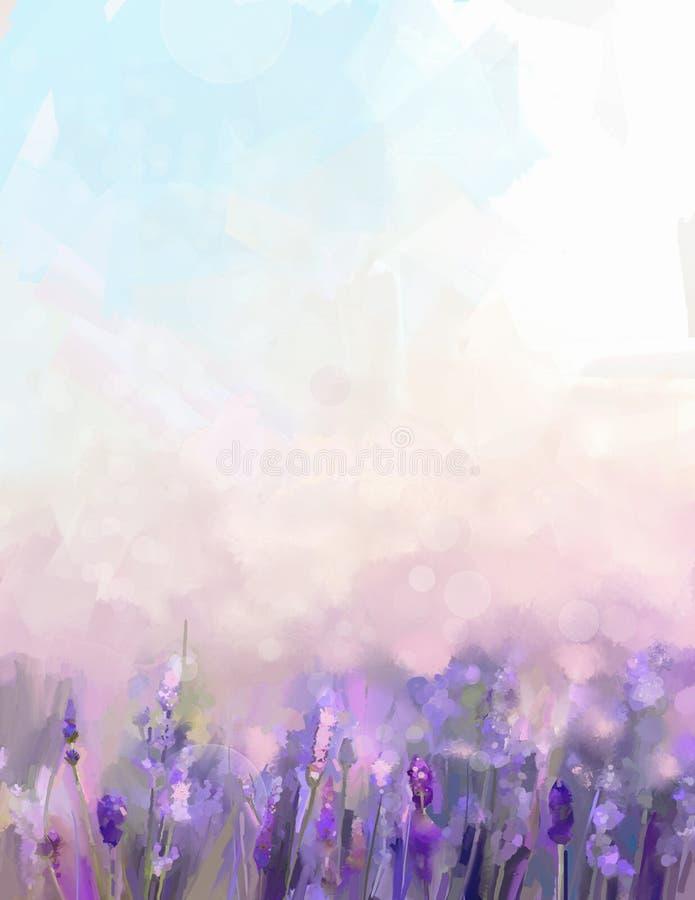 油画淡紫色花在草甸 向量例证