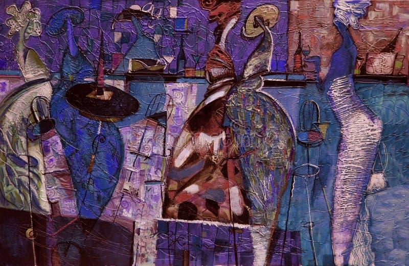 油画纹理 作者罗马Nogin 系列`妇女` s谈话 `颜色的作者` s版本 免版税图库摄影