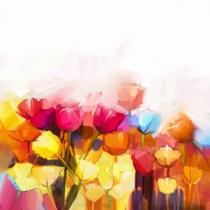 油画黄色,桃红色和红色郁金香花田 向量例证