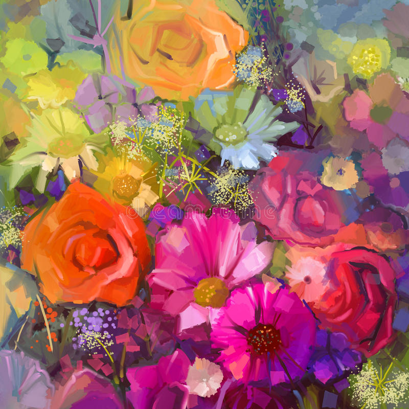 油画花束上升了,雏菊和大丁草花 皇族释放例证