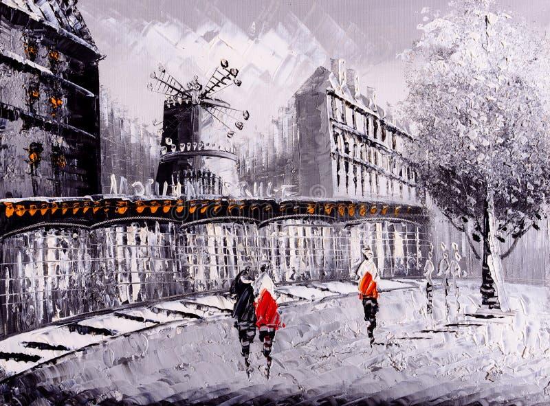 油画-巴黎街道视图  库存照片