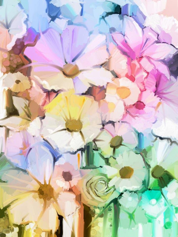 油画软的五颜六色的花束上升了,雏菊、百合和大丁草 库存例证