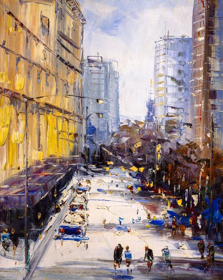 油画-都市街道视图 库存例证