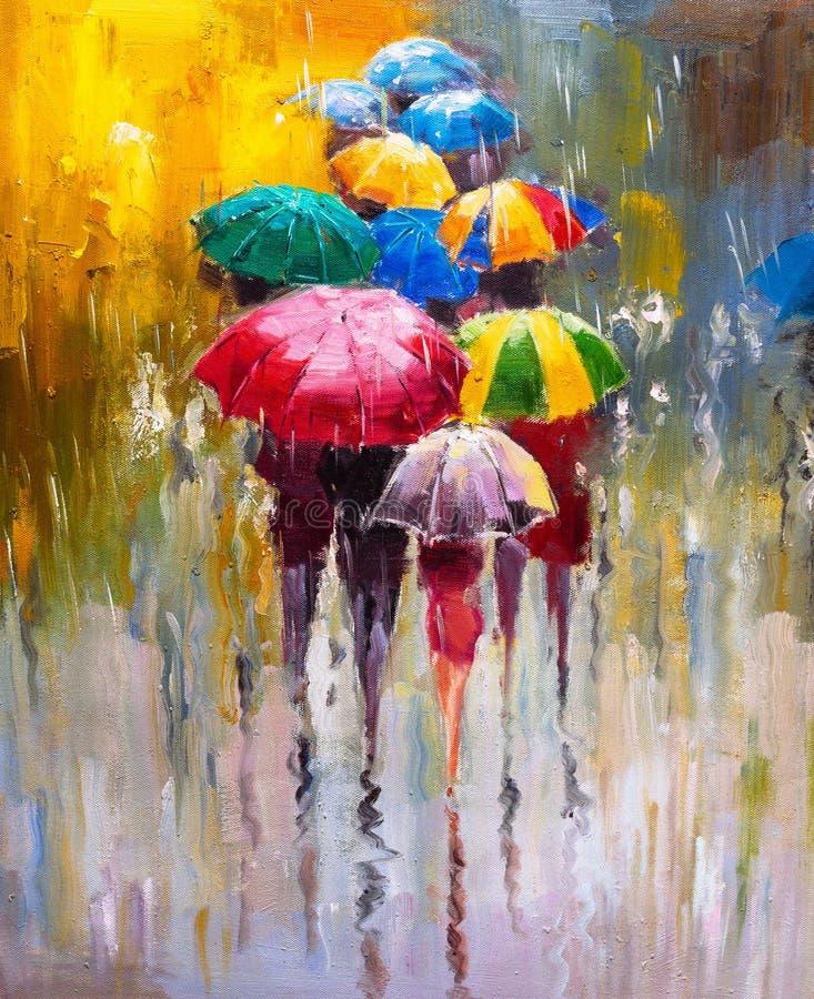 油画-雨天 向量例证